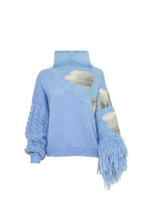 Picture of Hand-knit cloudy blue sweater