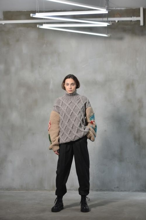 Picture of Knitted sweater with Dragon & Tulip embroideries