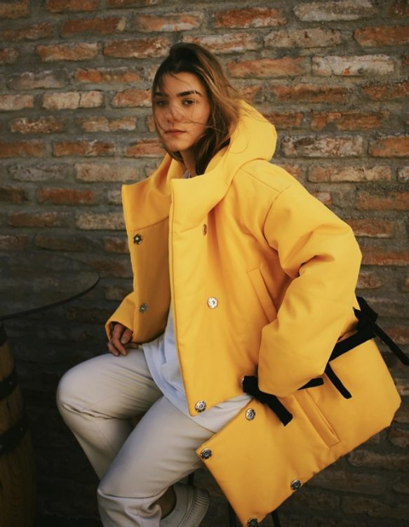 Picture of Hooded Yellow Transformable Puffer Jacket