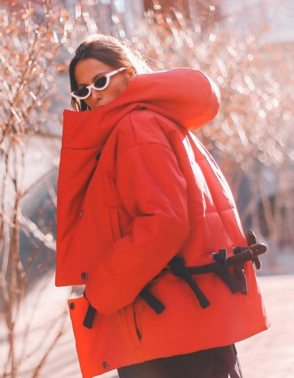 Picture of Hooded Red Transformable Puffer Jacket