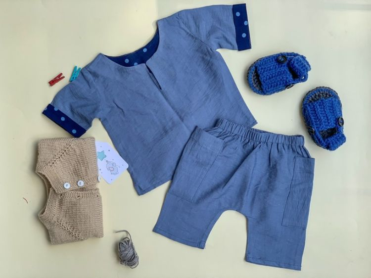 Picture of Blue linen shirt and short
