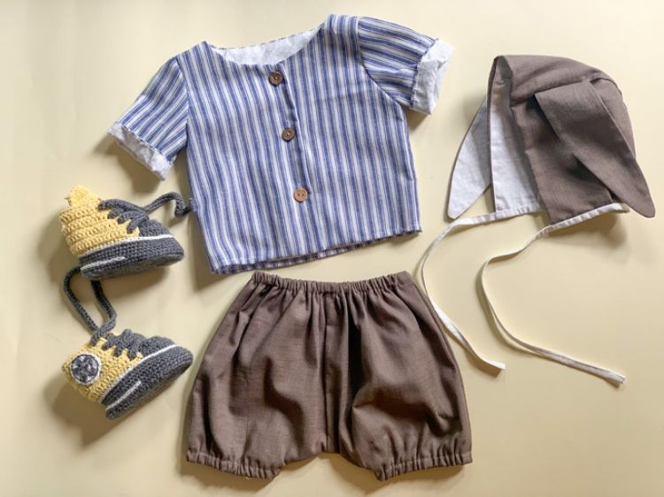 Picture of Linen shirt and shorts with bunny hat