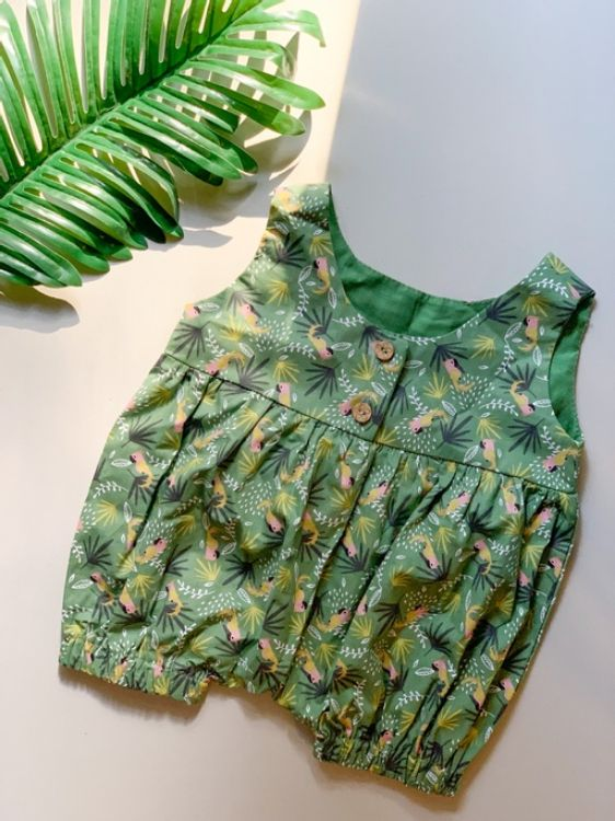 Picture of Green romper with parrot print
